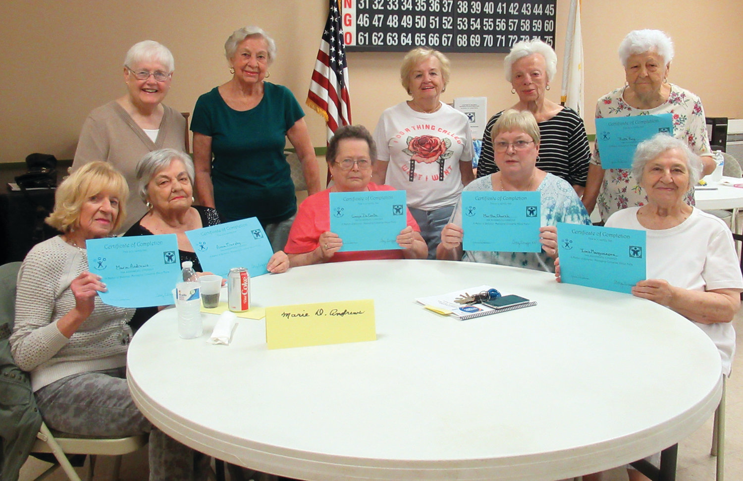 "GRAND GRADS: The Pell Manor residents who completed an eight week program entitled ""A Matter of Balance"" is, sitting from left: Marie Andrews, Ann Murphy, Pat Waterman, Marty Church and Inez Mangiacapra. Standing: Nancy Agnew, Connie DeConte, Alice Perrotti, Etta Marrocco and Josephine Pursche."