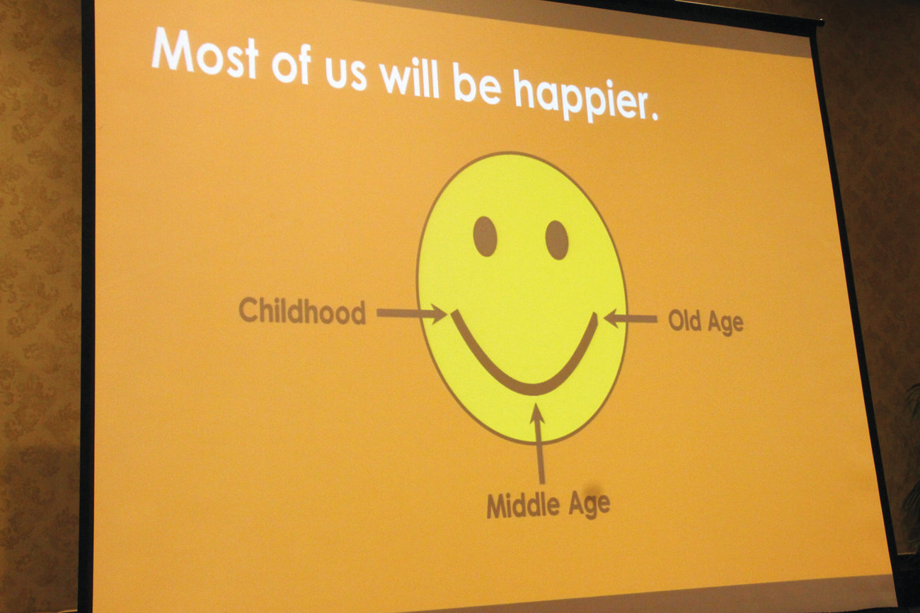 HOW TO LOOK AT LIFE: A smiley face with a different message was one of the slides Aston Applewhite used in her presentation.
