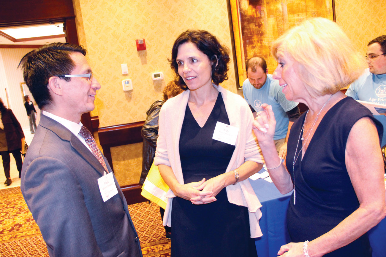 CENTER OF DISCUSSION:  President Frank D. Sancherez and Jody Shue, director of Age-Friendy RI and Marianne Raimondo outline plans for the Center on Aging to be housed at the college.