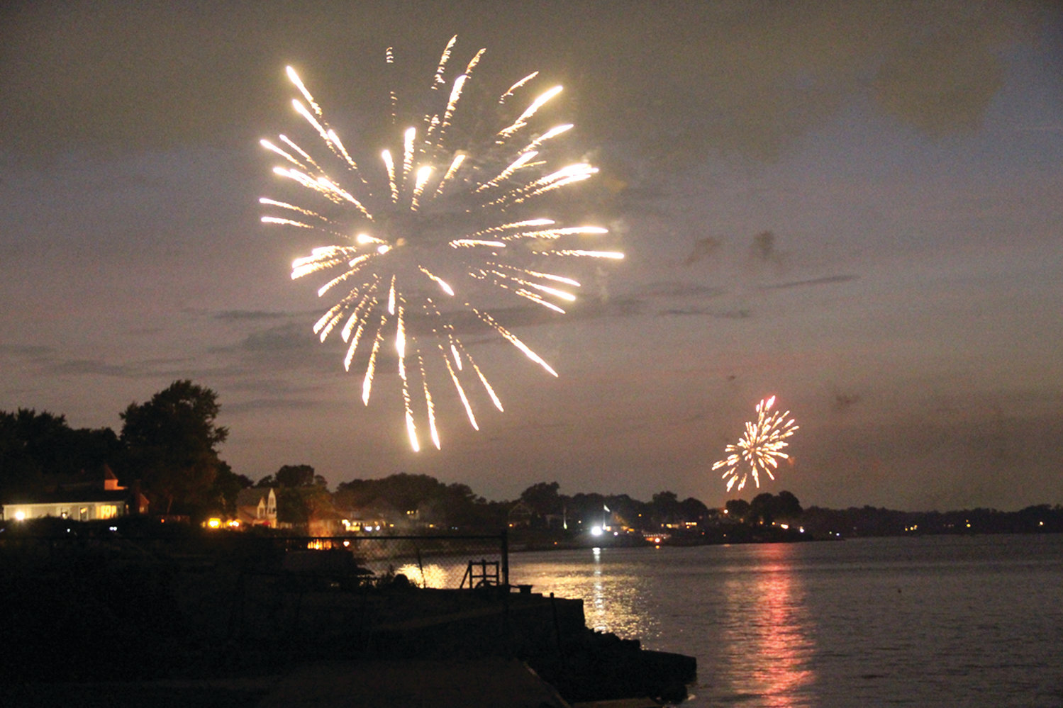 E VERYBODY CELEBRATES: Neighborhood fireworks as seen in Conimicut last year.