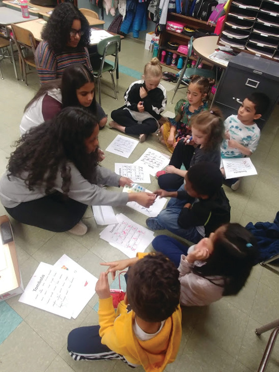 TEACHING AND LEARNING: Visiting Park View Middle School students recently used games and activities to teach Italian and Spanish to their younger peers at Waterman Elementary School.