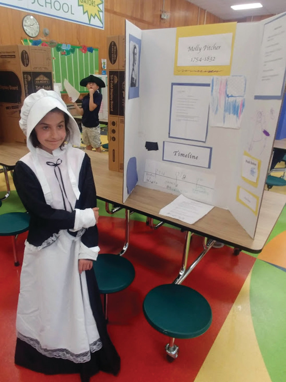 MOLLY PITCHER: Alexa Senna did her research about Molly Pitcher. She learned that Pitcher had not attended school.