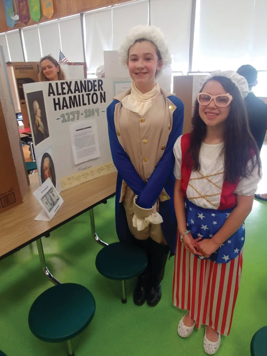 ALEXANDER HAMILTON AND BETSY ROSS: Kylie Shears and Arrianna Fagan portrayed Alexander Hamilton and Betsy Ross, respectively. Shears spoke about Hamilton's critics, who accused him of lying about his age, and Fagan learned that Ross came from a family of Quakers and was a New Year's baby.