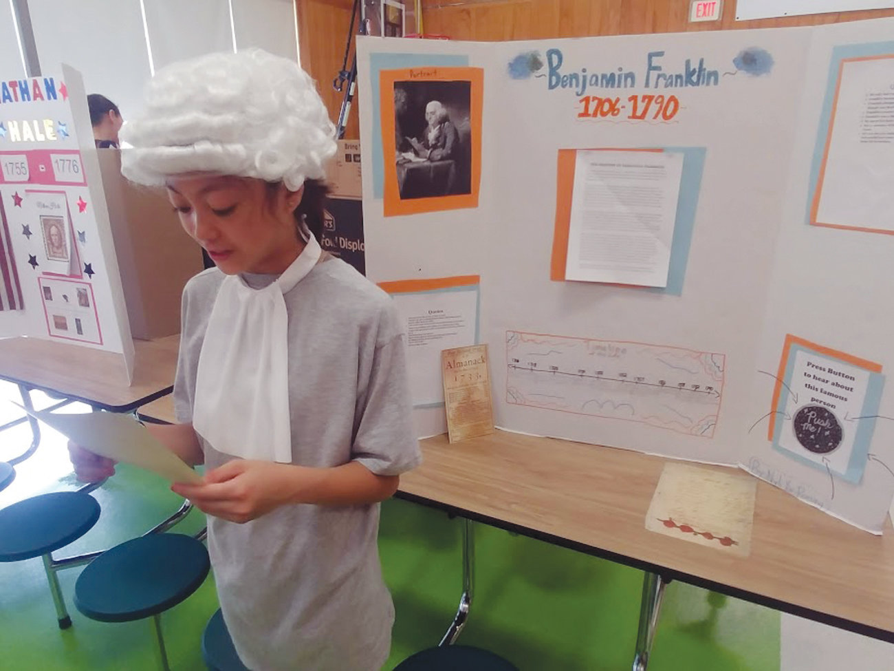 BEN FRANKLIN: Nylie You-Roeung portrayed Ben Franklin and during her presentation. She spoke of Franklin's strong writing skills.