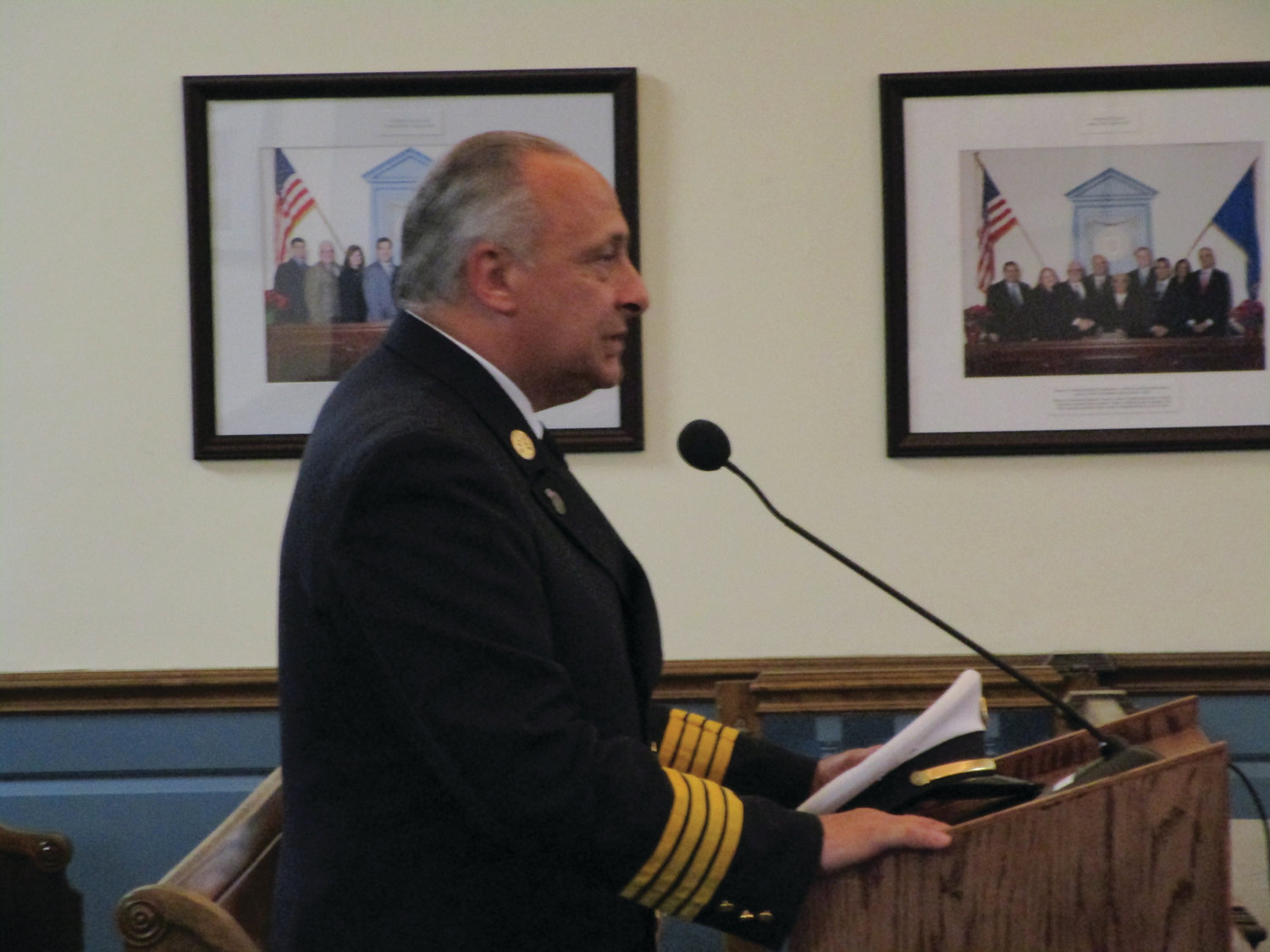 CHIEF'S RECEPTION: Cranston Assistant Fire Chief Paul Valletta addresses members of the City Council following Monday's 7-0 vote of the Finance Committee in favor of his appointment as the next fire chief.