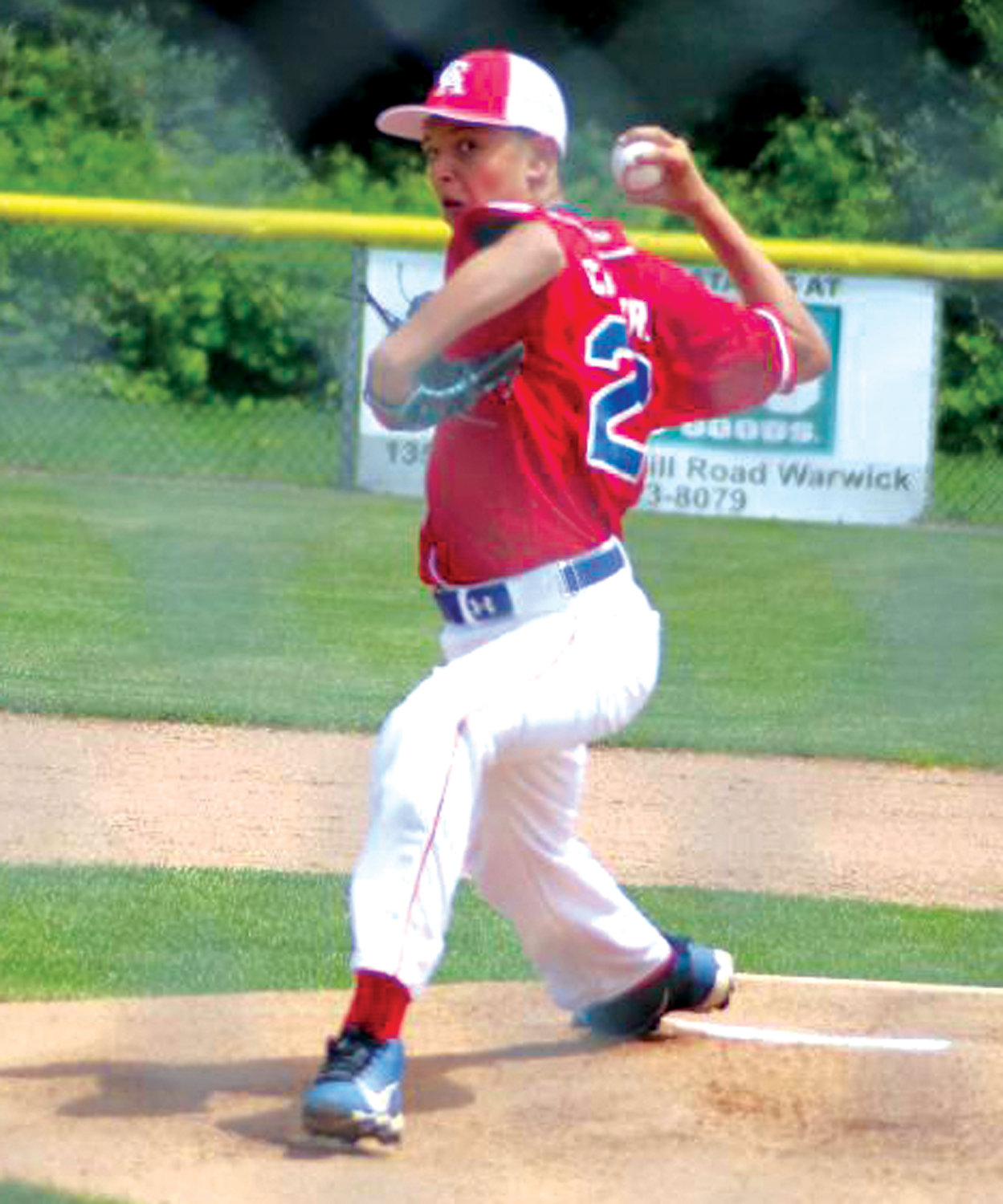 ON THE HILL: Warwick Continental American pitcher Nolan Canestrari delivers against South Kingstown last week during the state tournament. WCA will next face Warwick North on Saturday.