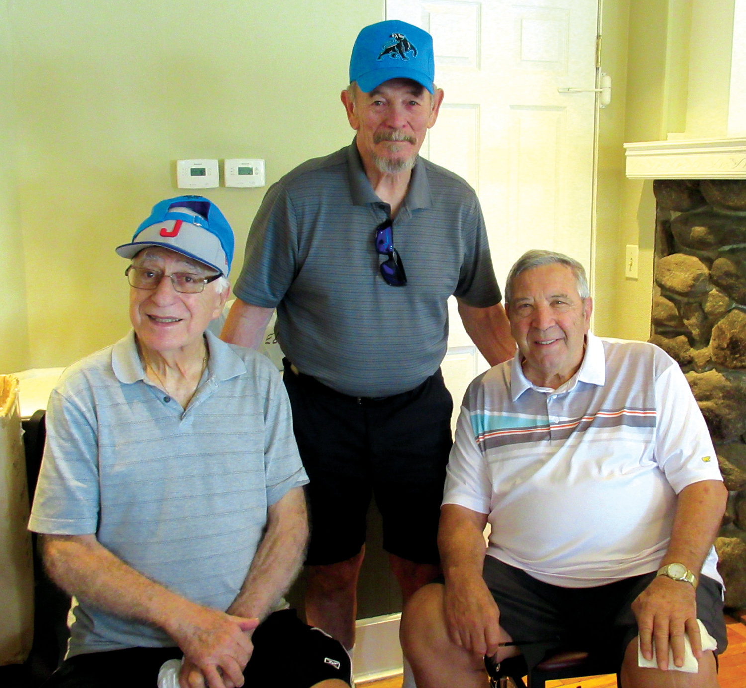 "LINKED LEGENDS: Among the many legendary JHS Panthers at Monday's Gary V. Mazzie Memorial/Johnston High School Athletic Hall of Fame Golf Tournament were Dick Hagopian (left), Jim Brumbaugh (center) and ""Papa Panther"" Edward L. DiSimone."