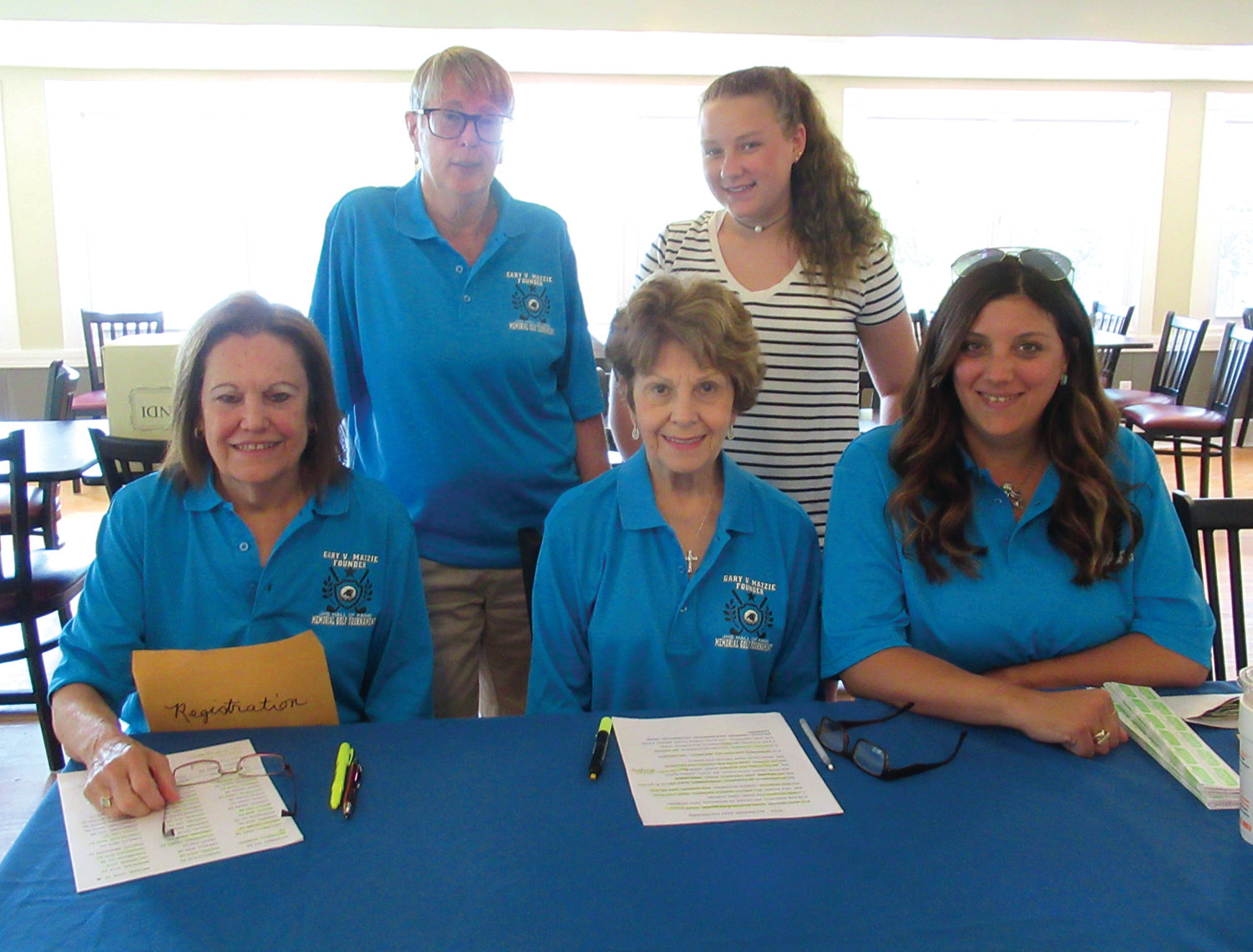 SPECIAL SUPPORTERS: Ladies like Lois Hopkins, Lee Mazzie, Samantha Mazzie, Jan Zucchi and Kristen Ryan served as a great welcoming committee during Monday's golf Tourney and checked all the players in at Glocester Country club.