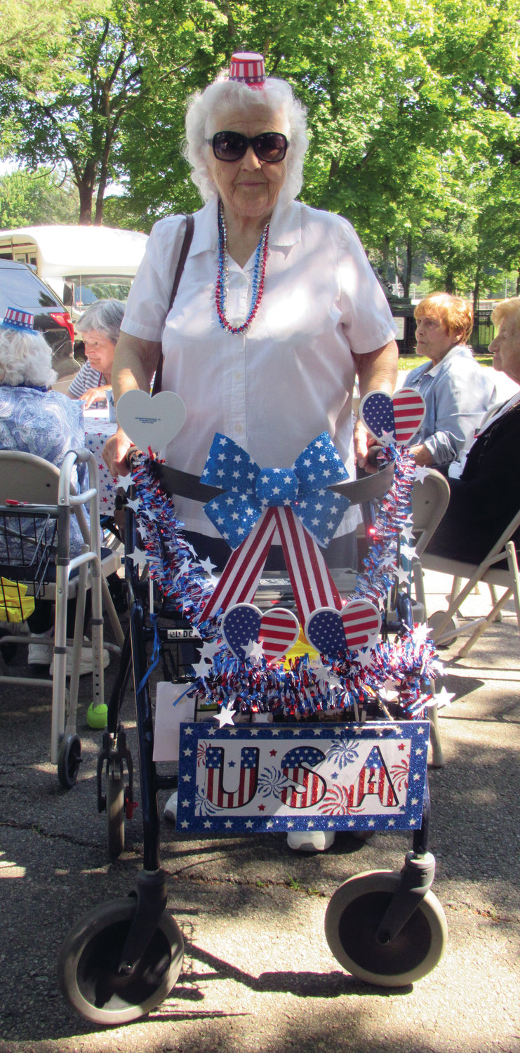 BRANCH'S BEAUTY: Dorothy Branch decorated her walker for last Thursday morning's Walk with Cops event.