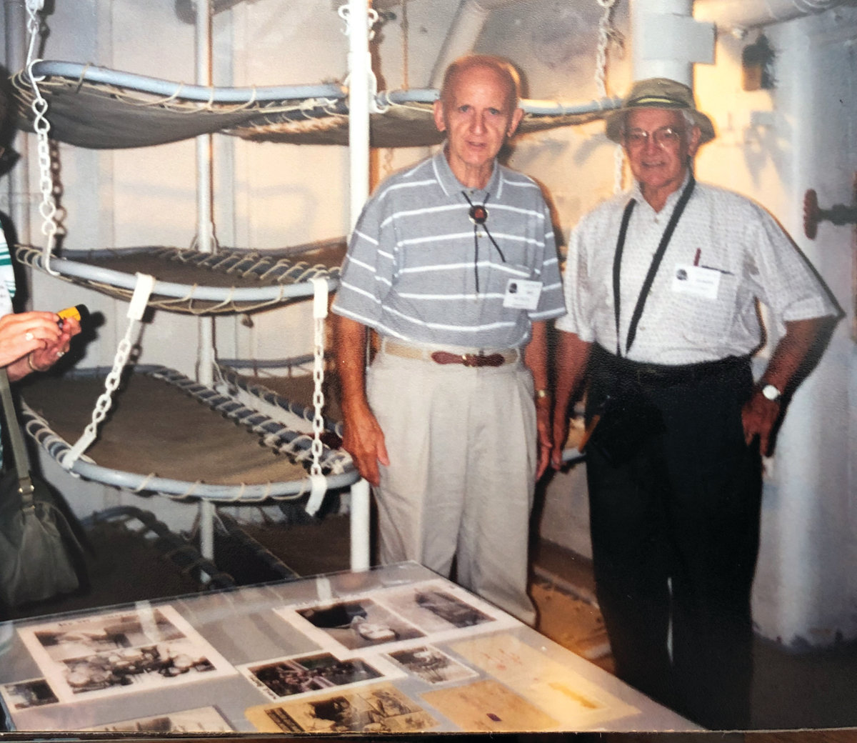 REVISITING: Ray Raiche visits a LSM similar to the one he helped crew during the war, alongside a shipmate he served with, Claude Clement.