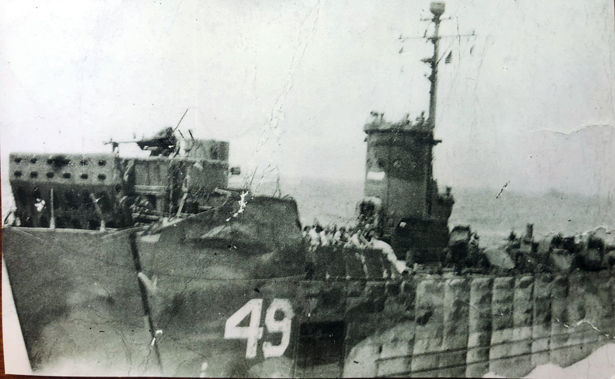 THEN AND NOW: Photos show what the LSM (Landing Ship Medium) looked like during the days of the war, compared with one that has survived to this day. Many of these types of ships were damaged or completely destroyed during the war.