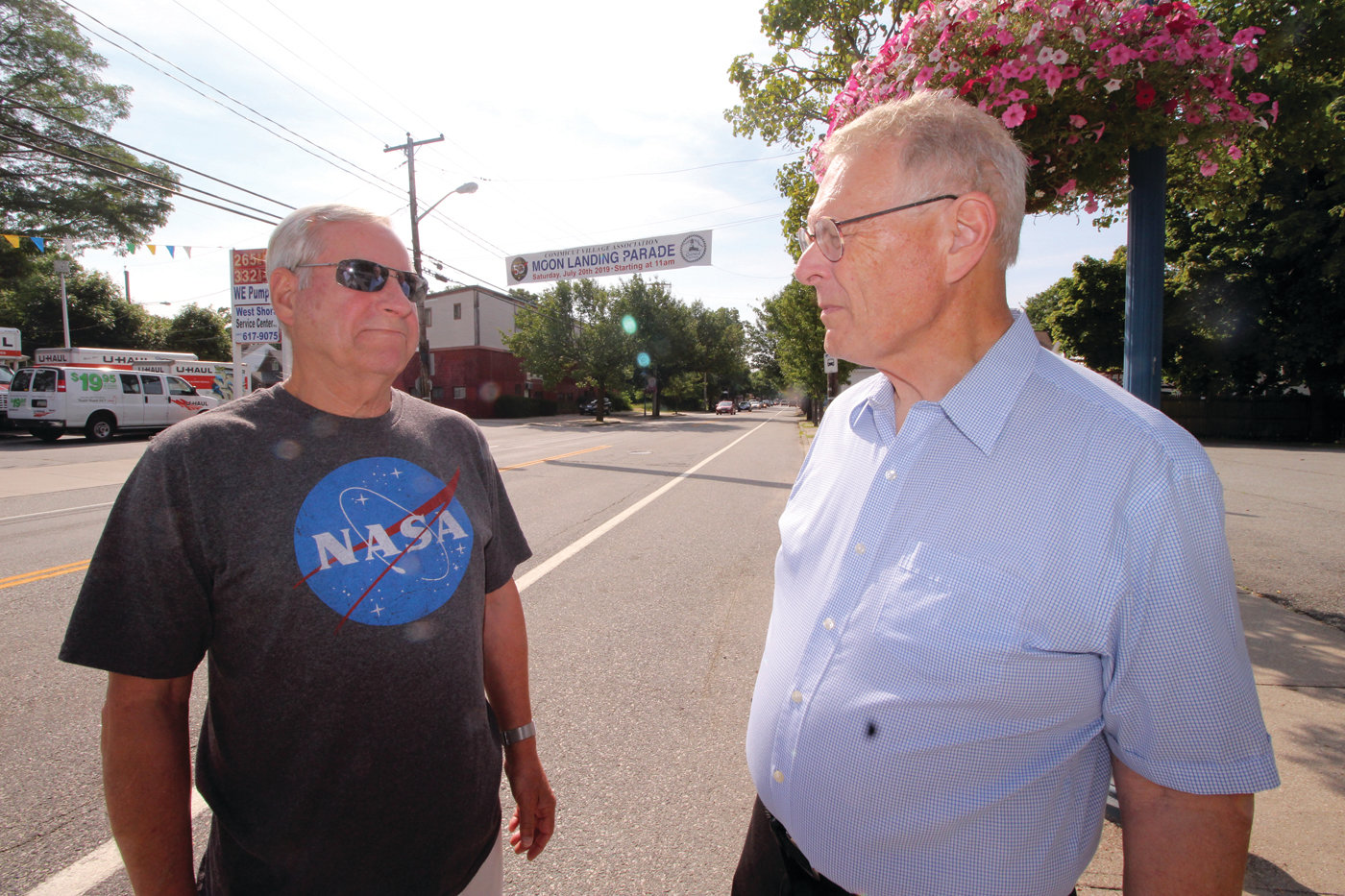 ON THEIR WAY TO A PARADE: Lonnie Barham and Doug Ray have been planning the 50th anniversary lunar landing parade for the past two years. Their intent is not only to commemorate the historic achievement but to also shine a light on Conimicut Village.