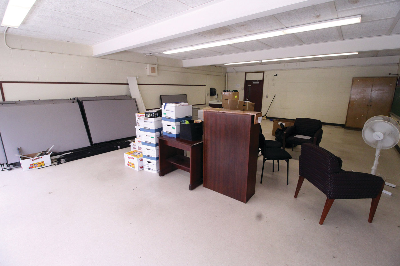 FUTURE CITY OFFICES: Former classrooms at Holden School are in the process of being converted into municipal offices.