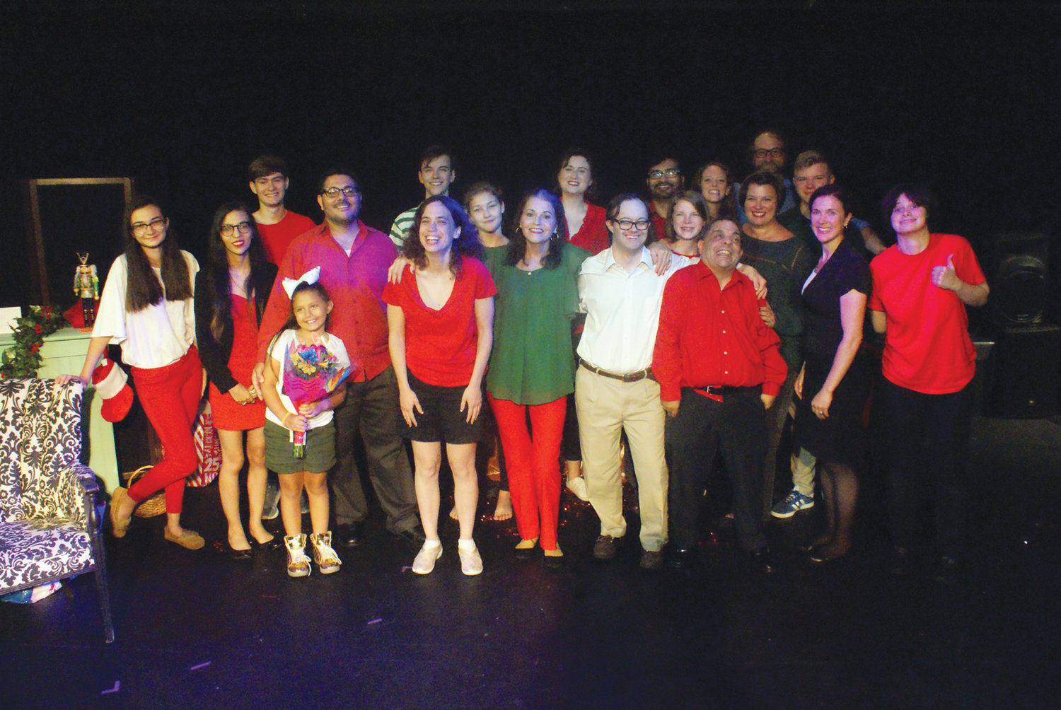 FULL ENSEMBLE: Cast members from Artists' Exchanges One Act Play Festival gather onstage after a recent performance.