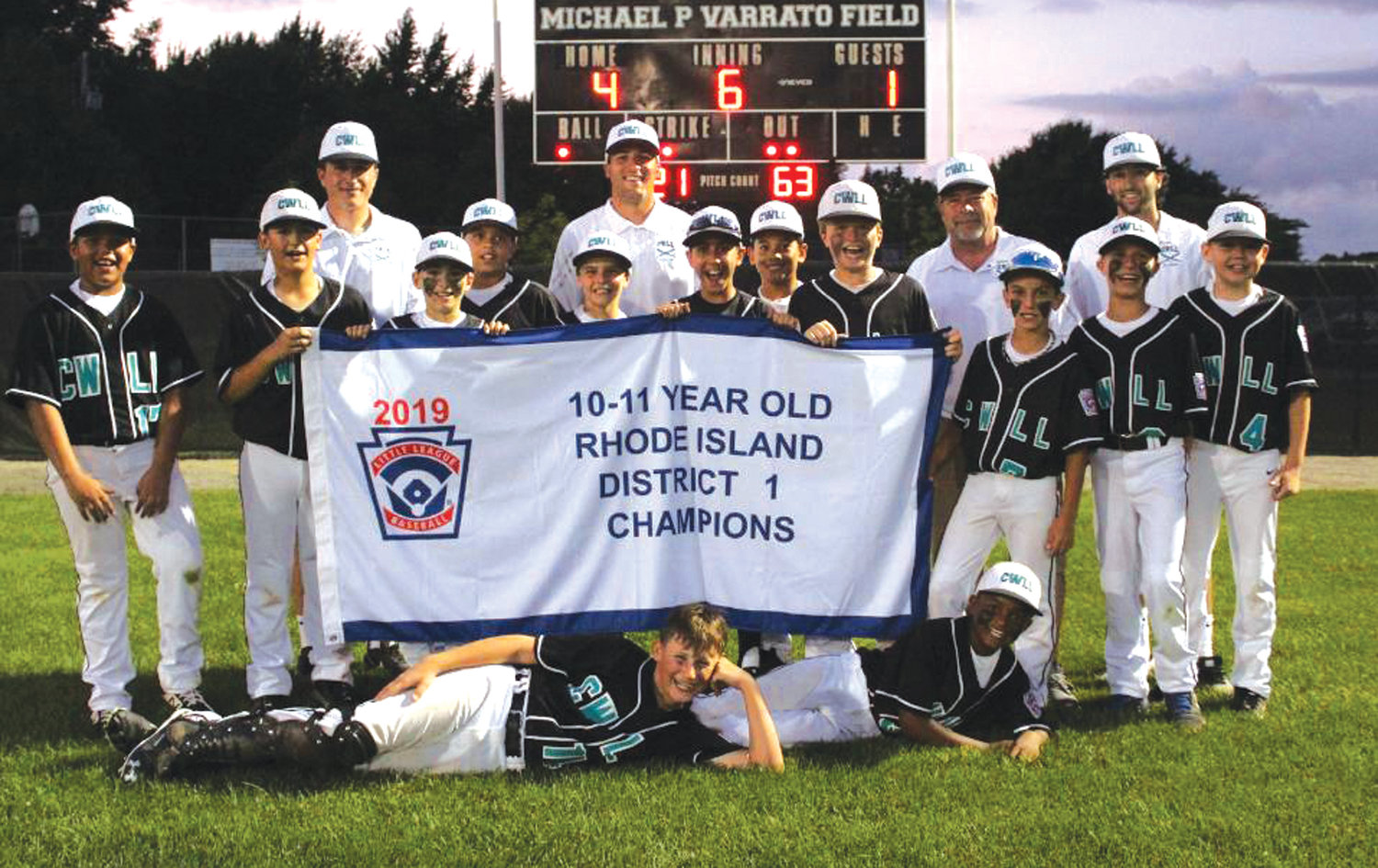WE ARE THE CHAMPIONS: The Cranston Western 11's after winning the District I title.