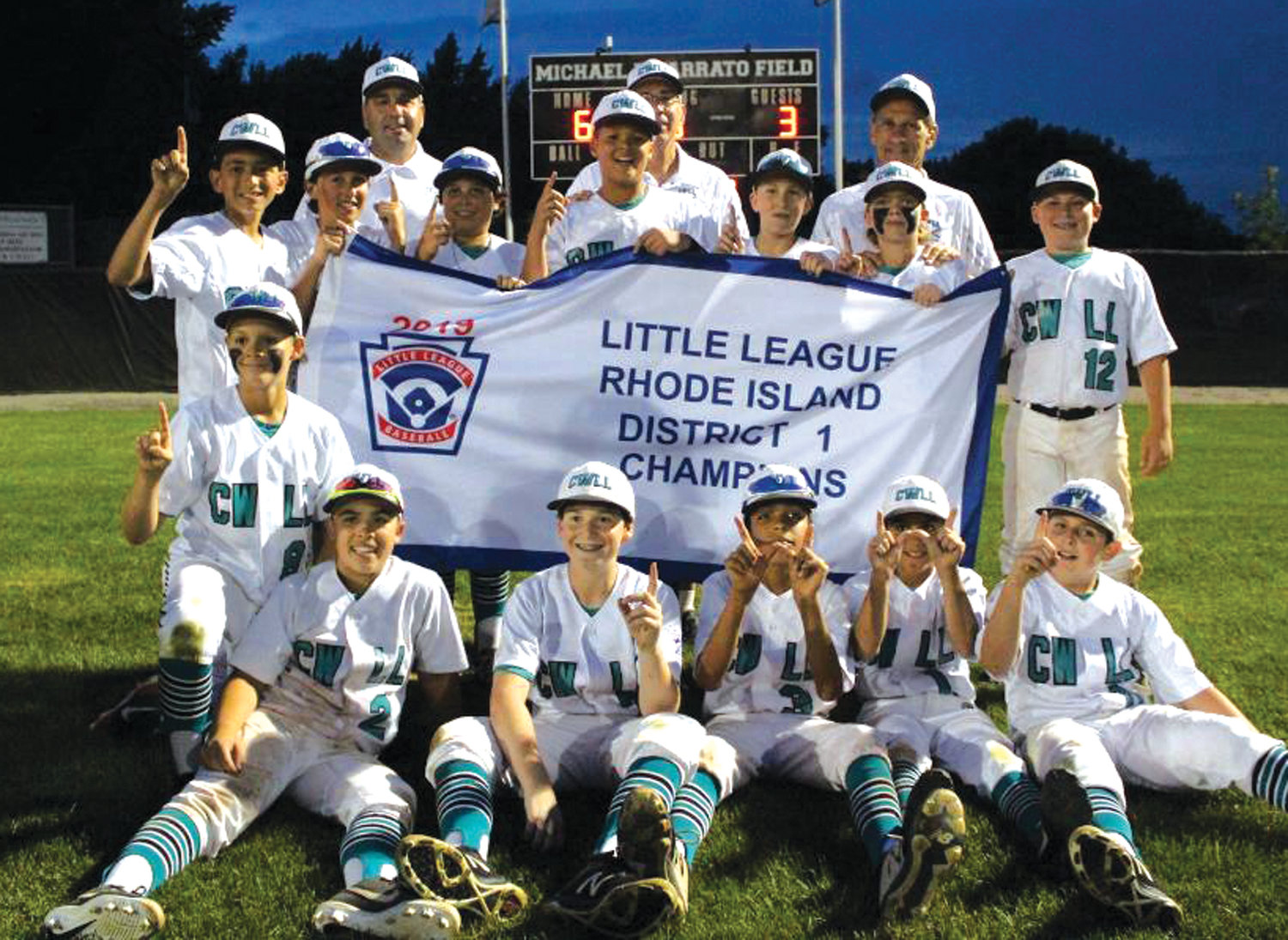 WE ARE THE CHAMPIONS: The Cranston Western 12's after winning the District I title.