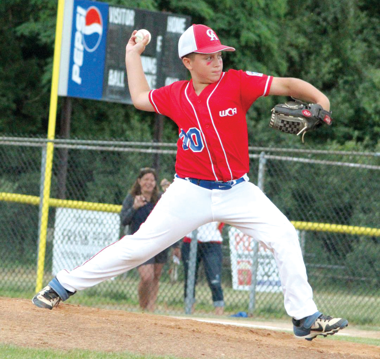 ON THE HILL: WCA pitcher Anthony Burt deals against NK last week.