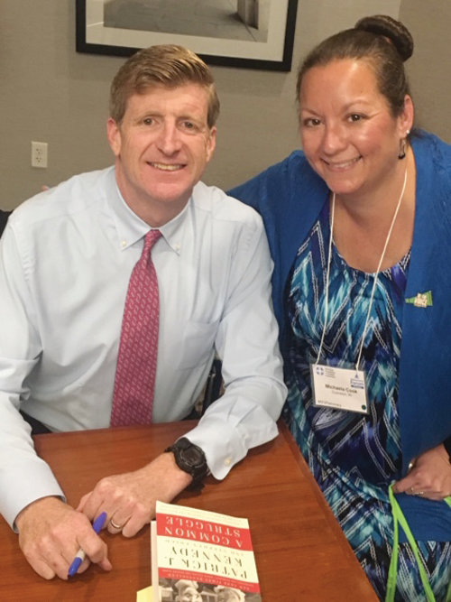 RI CONNECTION: Michaela Cook of Cranston shares a moment with former U.S. Rep. Patrick Kennedy during her recent trip to Washington, D.C., as a field advocate for the Rhode Island chapter of the American Foundation for Suicide Prevention.