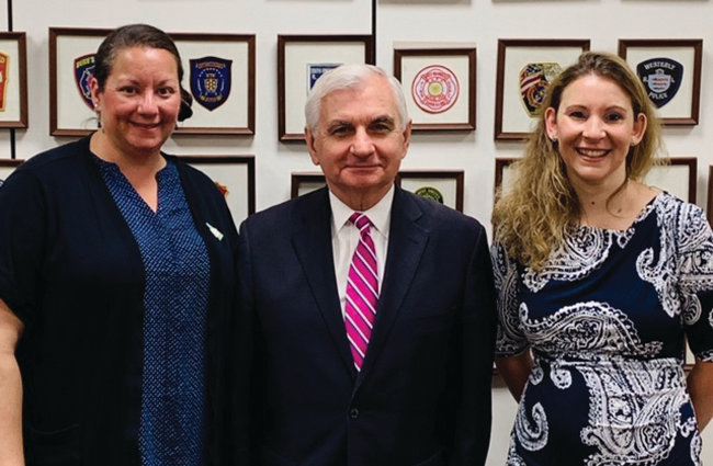 MEETING WITH REED: Michaela Cook, left, and Melissa Ames met with U.S. Sen. Jack Reed during their trip to Washington, D.C.