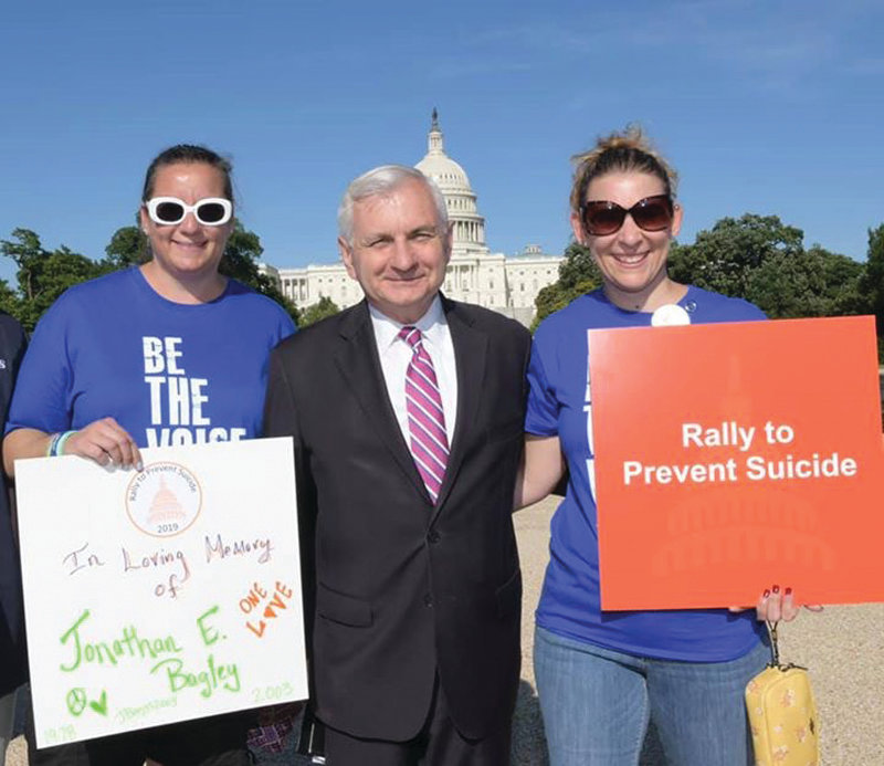 SENATOR'S SHOUT-OUT: U.S. Sen. Jack Reed attended and addressed the Rally to Prevent Suicide at the Lincoln Memorial Reflecting Pool on June 9, and recognized Michaela Cook, left, and Melissa Ames from the Rhode Island chapter of AFSP in his remarks.