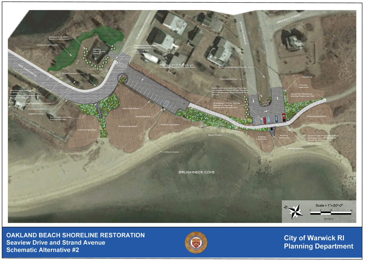 THE MODERATE PLAN: Under this scenario, the beach front parking lot would remain accessible from Suburban Parkway but closed to vehicles from Strand. This and other plans will be discussed at an Aug. 8 meeting at 7 p.m. at the Oakland Beach branch of the Boys & Girls Clubs.