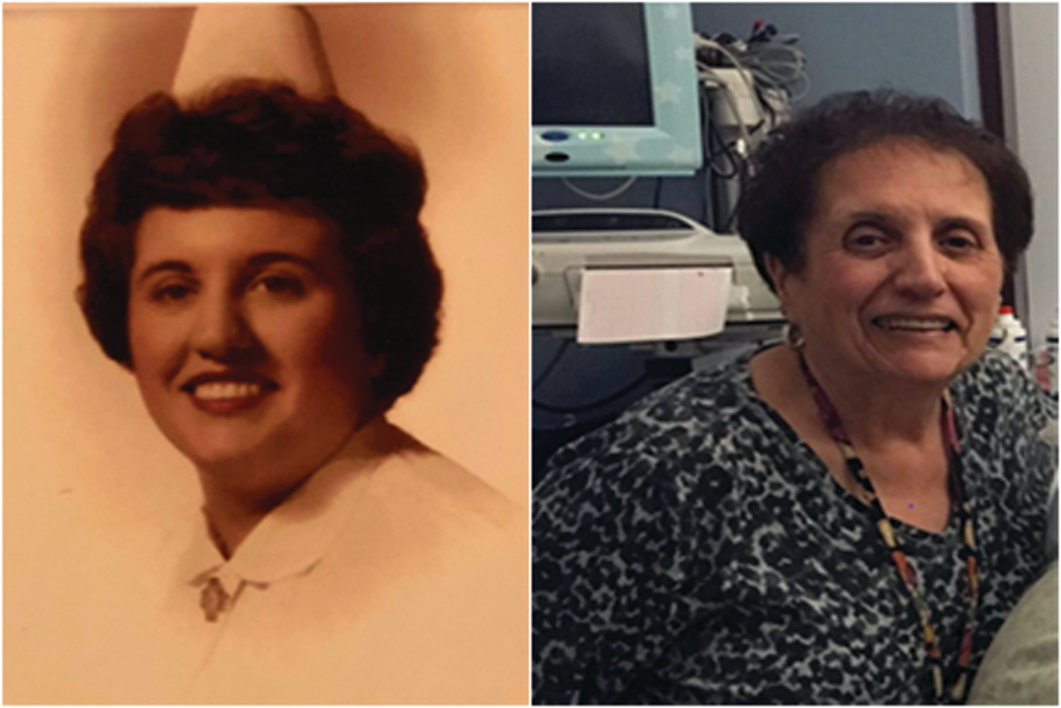 SIX DECADES OF SERVICE: Jenny Todisco, a Johnston resident and nurse at Women and Infants Hospital, retired this Tuesday after 59 years in the industry. Above right is a current picture of Todisco juxtaposed with her 1960 graduation photo.