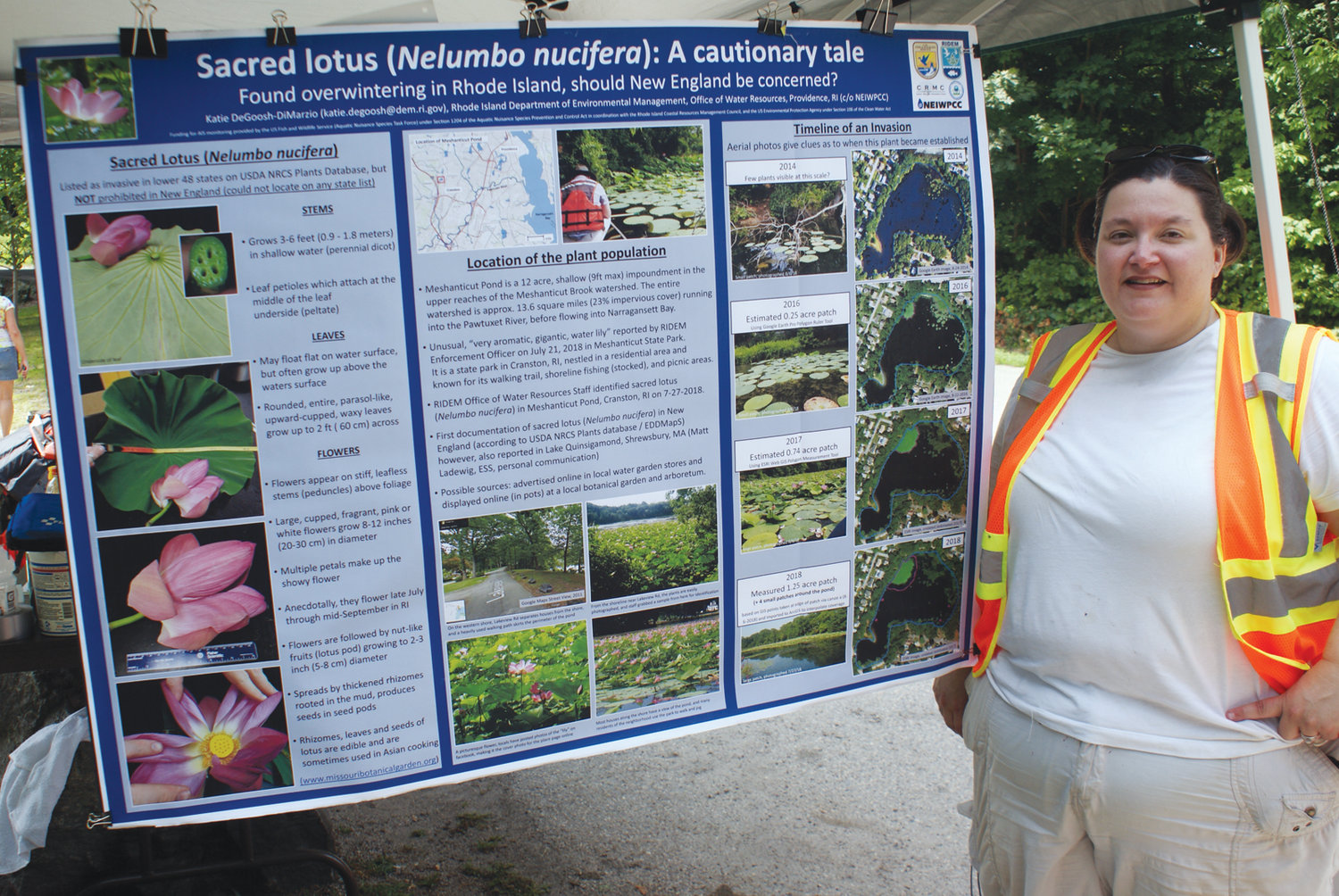 EDUCATIONAL EVENT: Katie DeGoosh-DiMarzio, a project coordinator with the Rhode Island Department of Environmental Management, was on hand to explain the issues surrounding the sacred lotus patch at Meshanticut Pond.