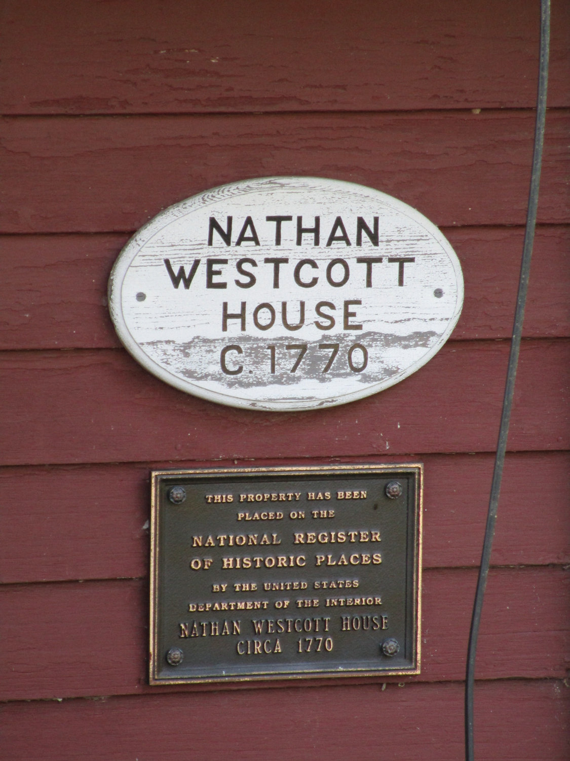 LOCAL HERITAGE: The Westcott House was added to the National Register of Historic Places in the late 1980s, as memorialized by this plaque that remains affixed to the structure.