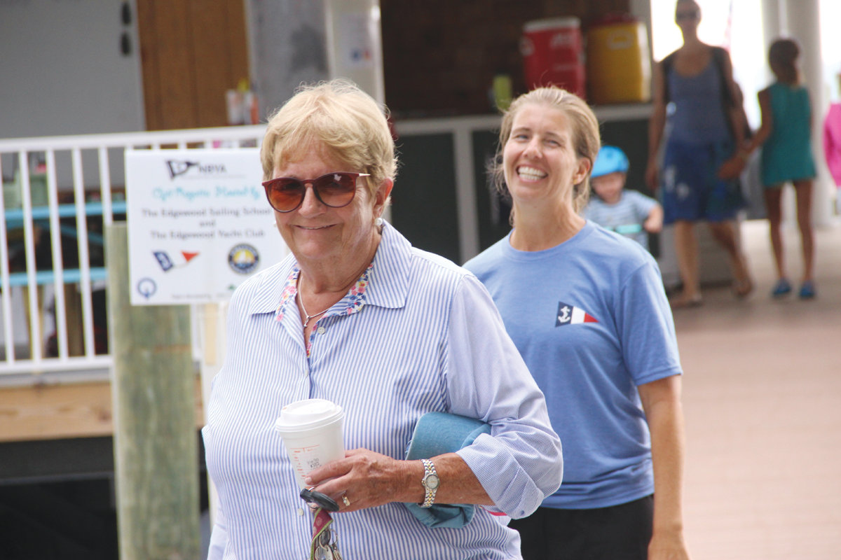 FAITHFUL VOLUNTEERS: EYC members Nancy Plumb, retired principal of Norwood School, and Stephanie Van Patten of Warwick helped pitch in to run the regatta.