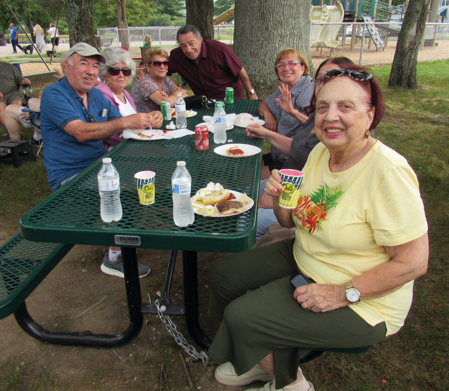 SUPER SENIORS: This is just one of the many small groups of senior citizens who took in Tuesday's National Night Out in Johnston.