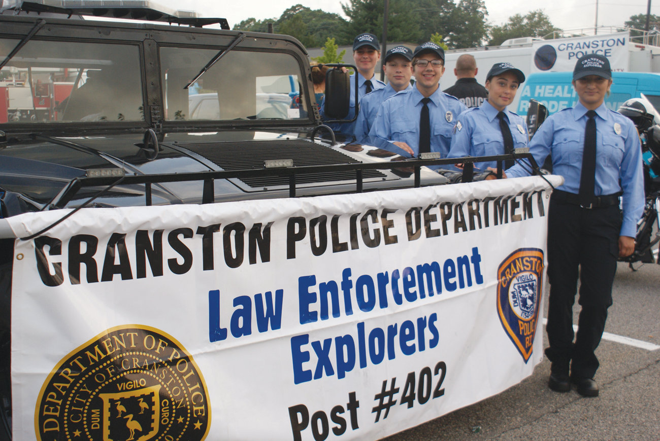 TIME TO EXPLORE: Members of the Cranston Police Explorers Post 402 were on hand for National Night Out. They were there to spread awareness of their program and sign up volunteers who were interested. Pictured are Destiny Thorpe, Odel Mejia, Aidan DelSignore, Helena Muoio and Daisy Sanchez.