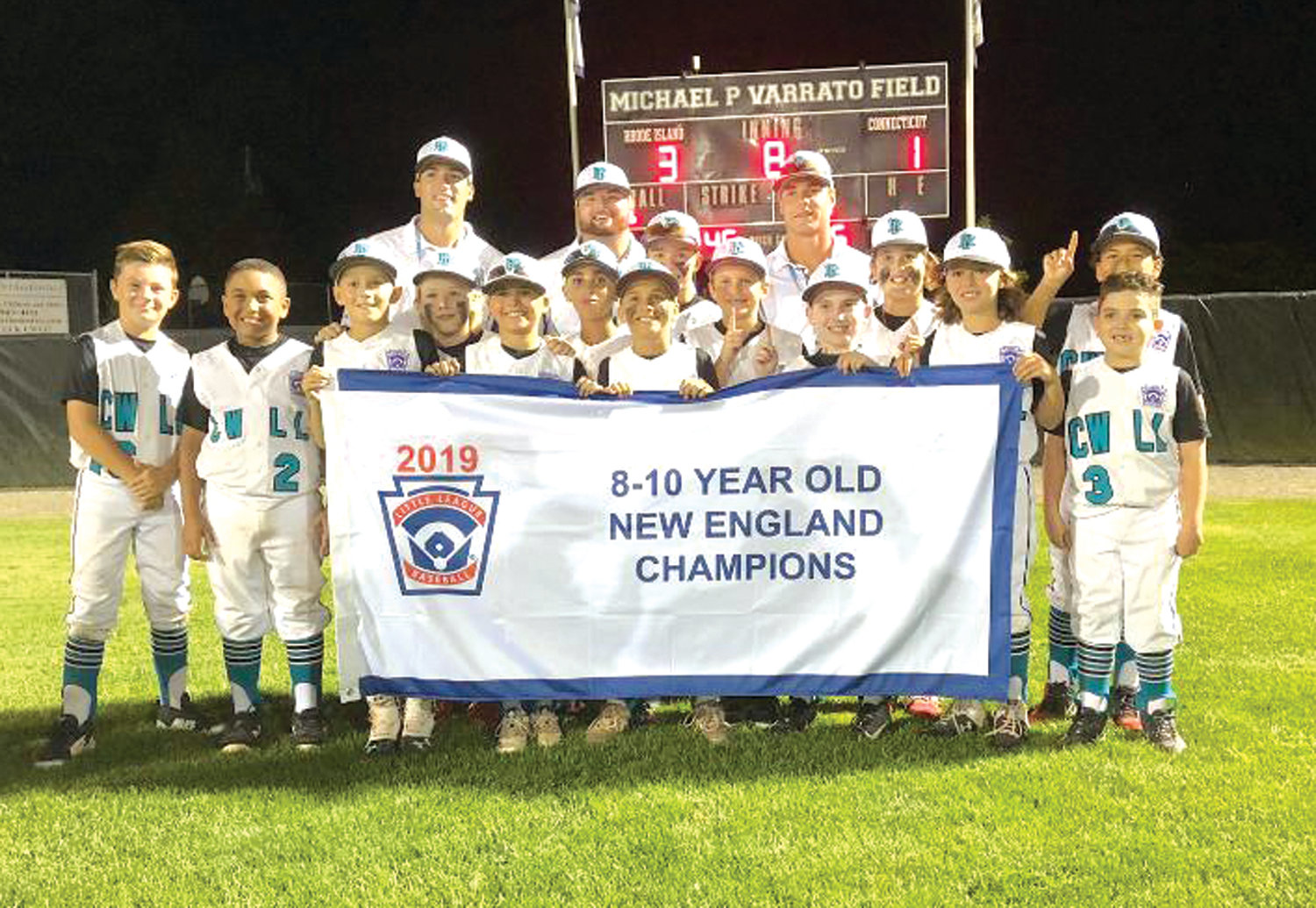 NE CHAMPS: The Cranston Western 10's after winning the regional championship over Connecticut.