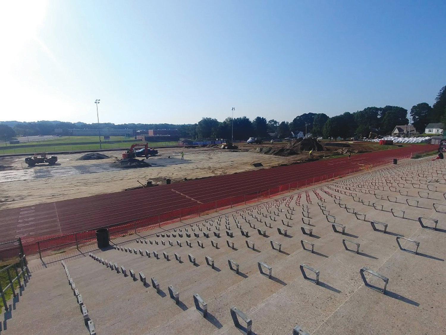 SIGNS OF PROGRESS: In every direction, there are signs of the work being done at the Cranston West stadium.