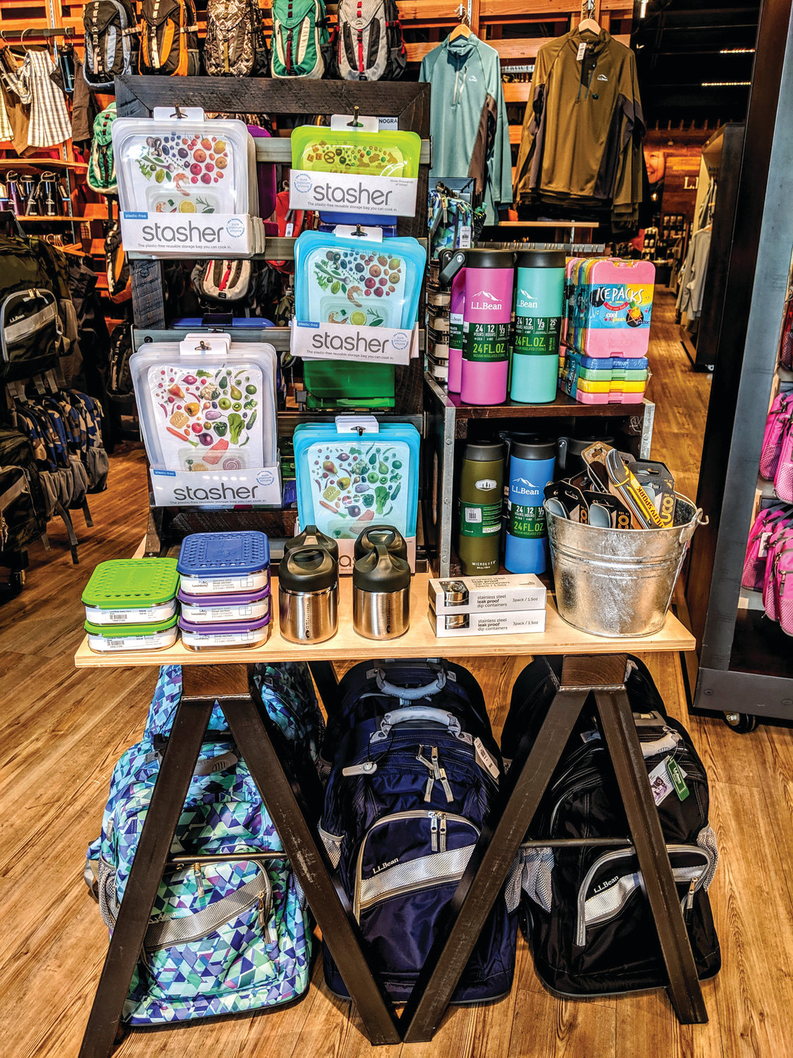LEADER OF THE PACK: L.L. Bean in Garden City Center offers a range of backpack options for back-to-school shoppers.