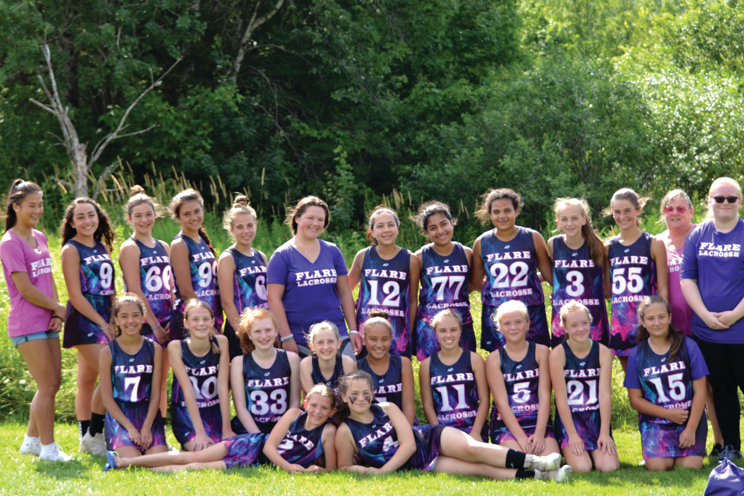 WITH FLARE: Members of the Flare Lacrosse team line up for a group photo. The program focuses on developing girls as players and leaders.