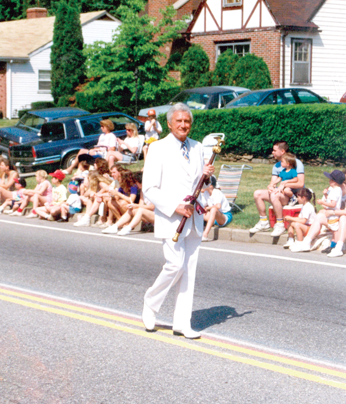 IN THE LEAD: Jerry Goldstein carrying the mace in the Gaspee Days parade.