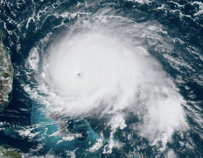 Hurricane Dorian as seen by satellite imaging