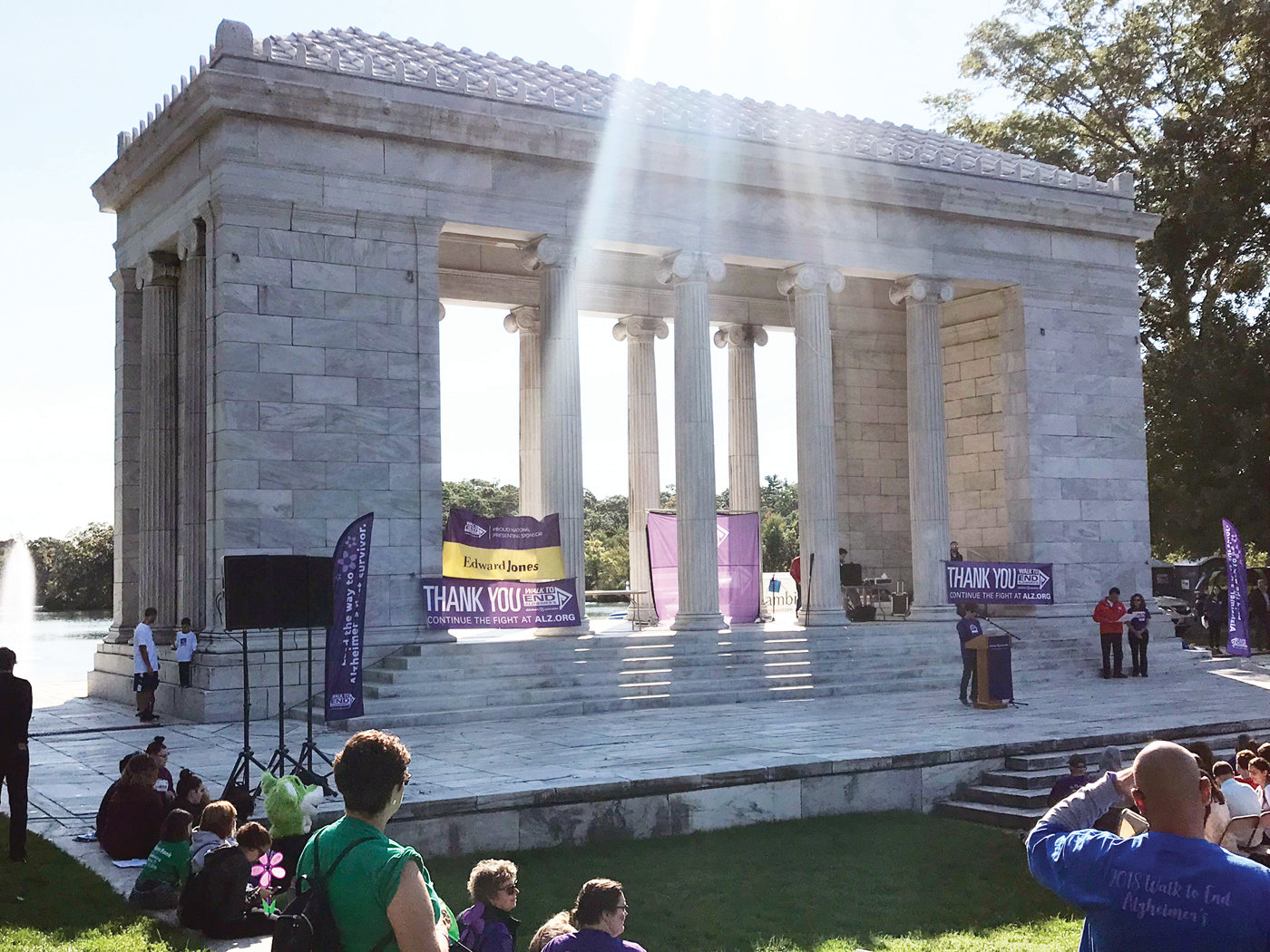 BEAUTIFUL BACKDROP: The Temple to Music at Roger Williams Park serves as the setting for each year's Providence walk.
