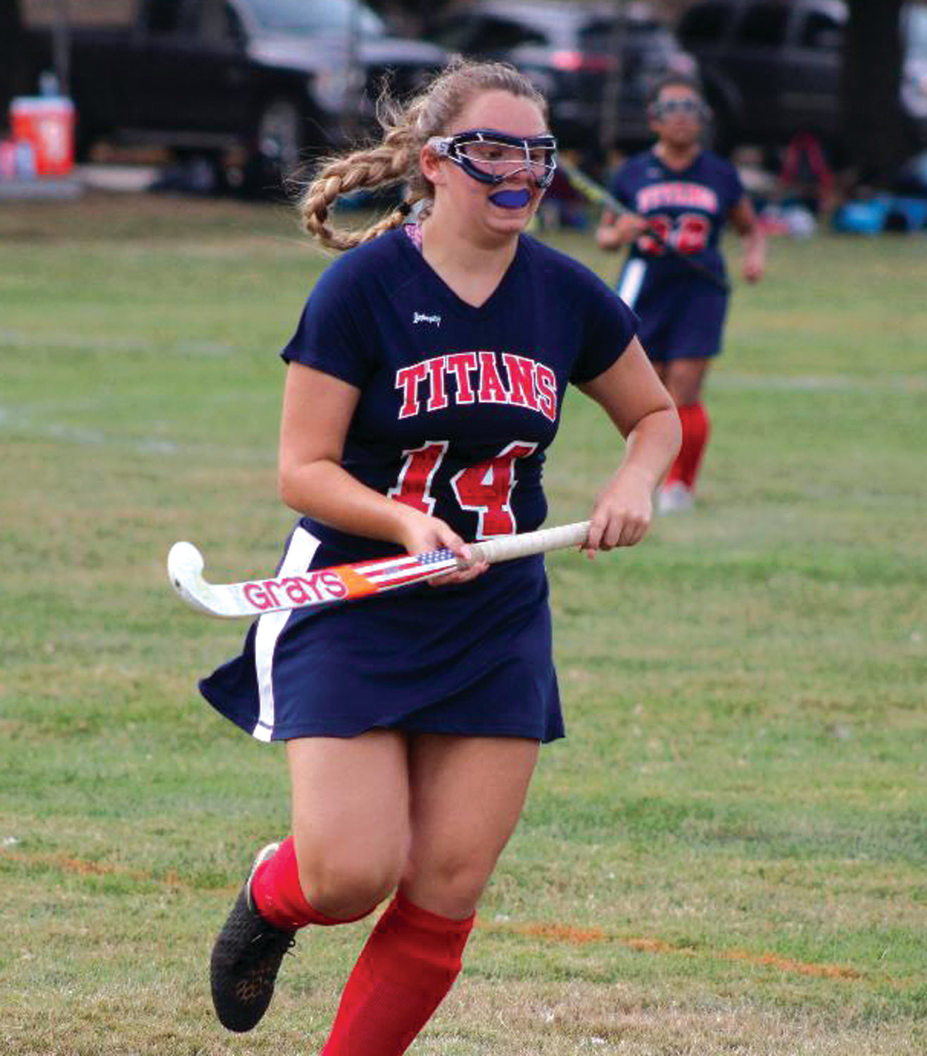 UP THE FIELD: Toll Gate's Erica Armstrong works her way up the field against Pilgrim last week.