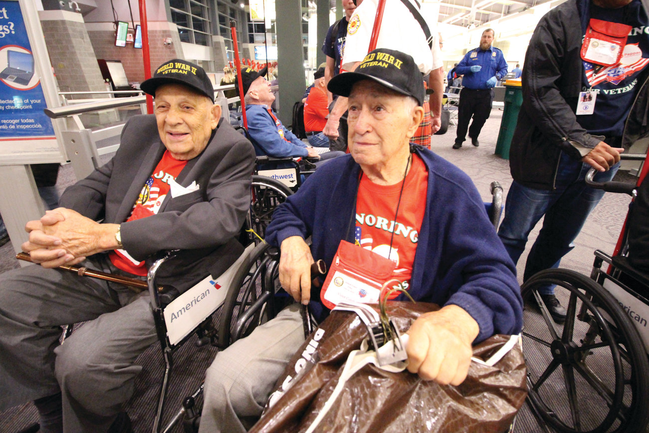 SENIOR VETS: WWII veterans Louis Sala and Victor Colella, both 96, shared the distinction of placing a wreath on the Tomb of the Unknown Soldier at Arlington National Cemetery.