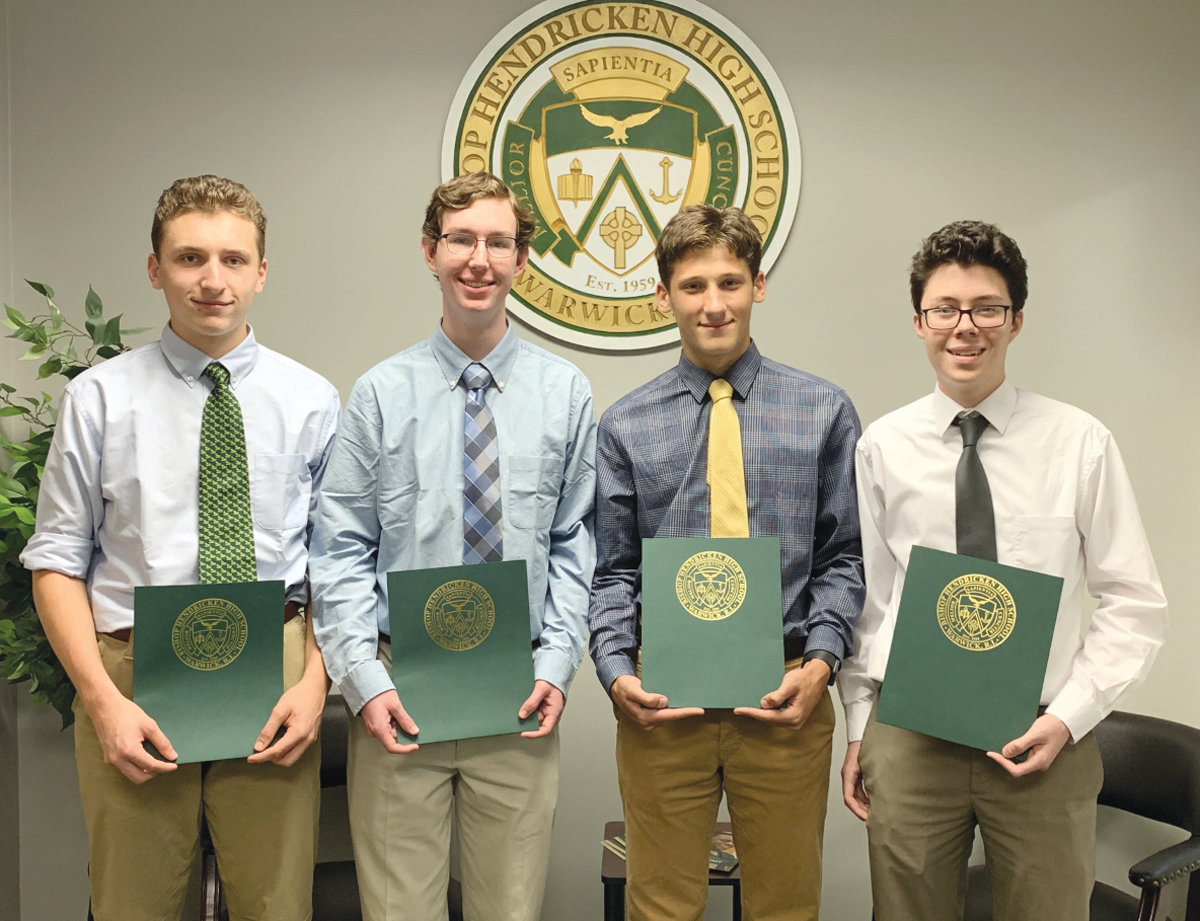 SEMIFINALISTS: Four Hendricken students have been named National Merit Scholarship semifinalists. They are from left:  Jonas Ke