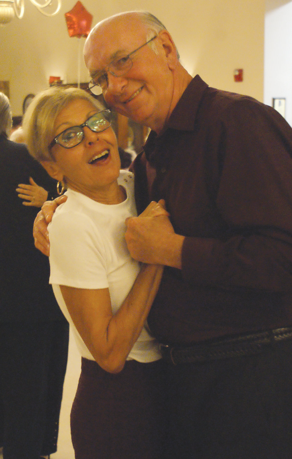 MET IN THE MARKET: Carolyn Box enjoyed her dance with her boyfriend, Steve Thomas, who she met in the meat department of Stop & Shop in Warwick. They said it was a wonderful evening at the Johnston Senior Center.