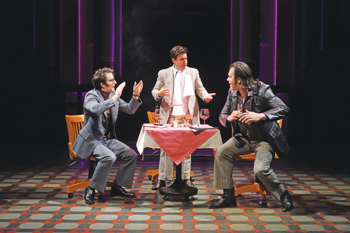 "Charlie Thurston as Herb DeSimone (left), Scott Aiello as Vincent A. ""Buddy"" Cianci Jr., and Erick Betancourt as Mickey Corrente."
