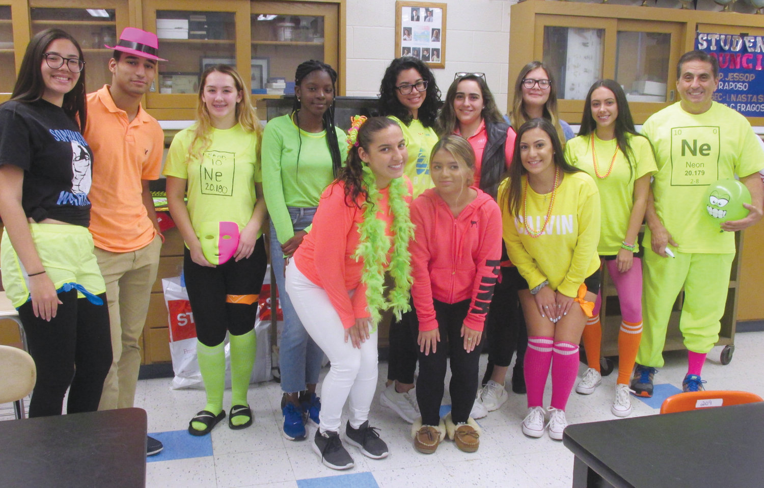 SUPER SPIRIT: Greg Russo and Johnston High School students will be among those decked out in a variety of garb during Spirit Week on Cherry Hill.