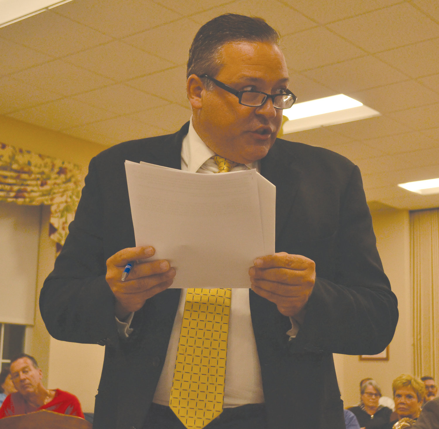 PLEADING HIS CASE: Attorney Frank Sciacca, who represents two parties against the potential Green Development solar installation, said the project would not fit the town's comprehensive plan.