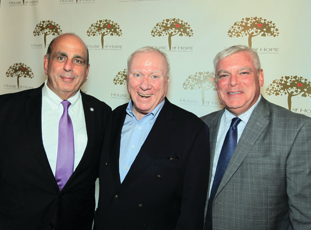 TRIO OF MAYORS: Mayor Joseph Solomon, left, is joined by former mayors Joseph Walsh and Scott Avedisian at the House of Hope anniversary celebration. Avedisian served as honorary chair of the occasion.