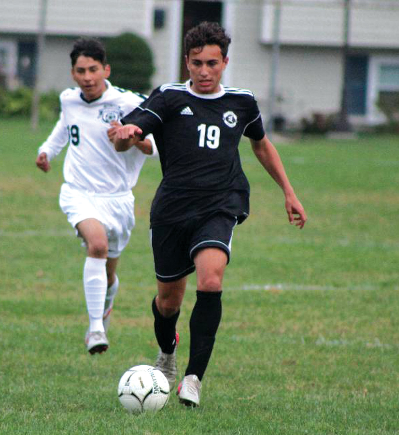 Pilgrim's Paulo Frias dribbles the ball down the field last week.