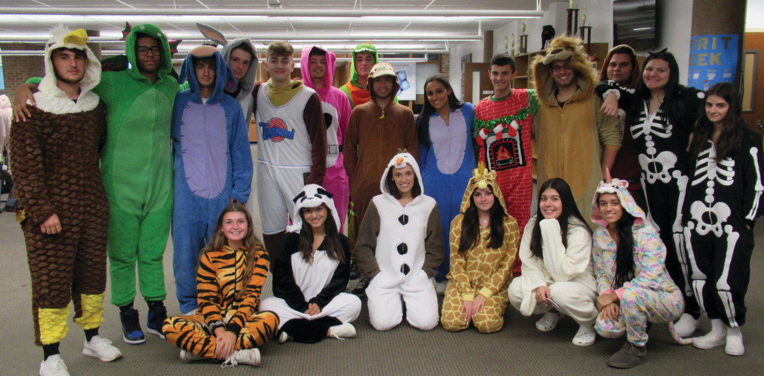 PROUD PANTHERS: This just one of the many groups of Johnston High School students who showed classic creativity for Tuesday's Onesie Day on Cherry Hill.