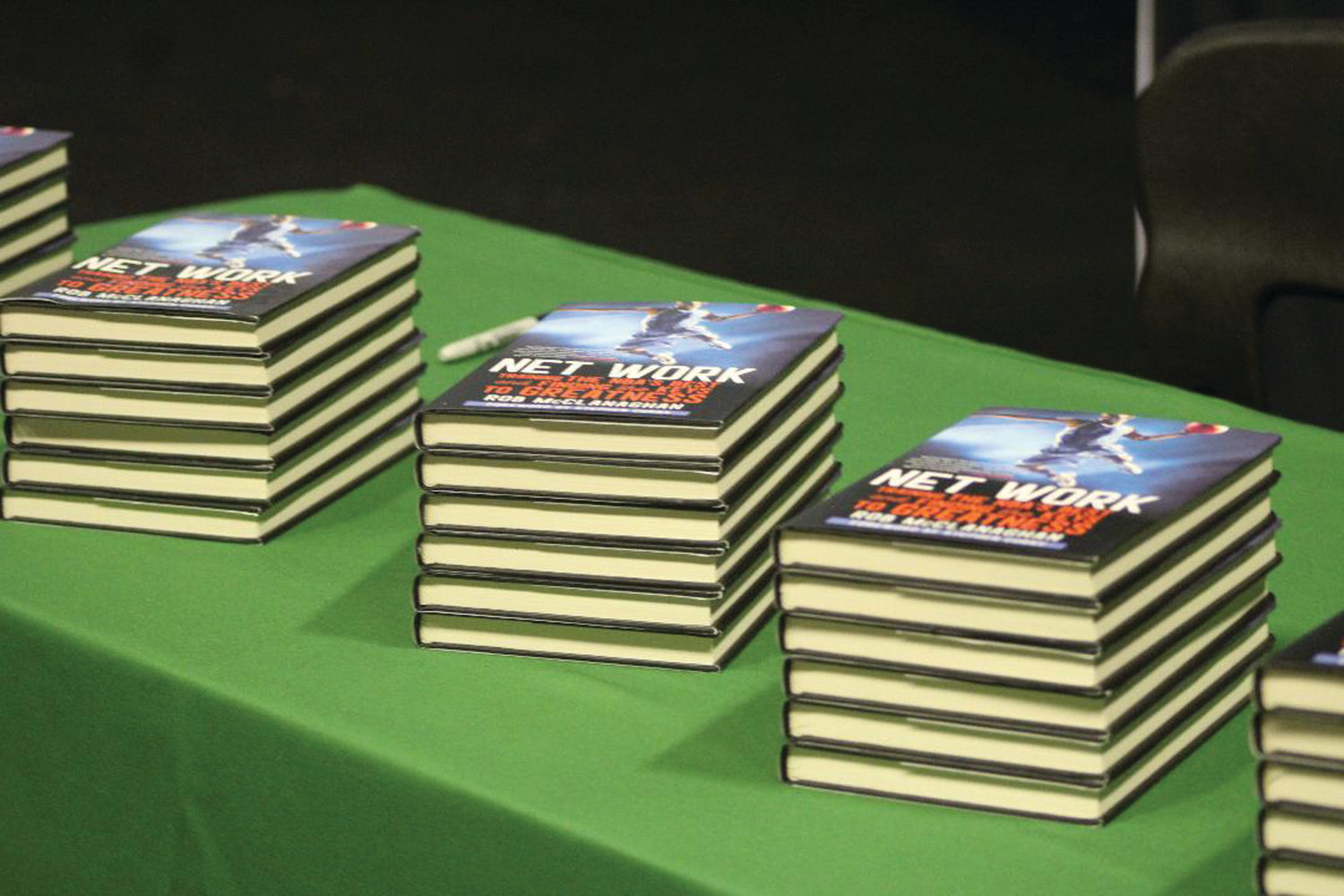 ON DISPLAY: Copies of Rob McClanaghan's new book were on display at Hendricken on Tuesday.
