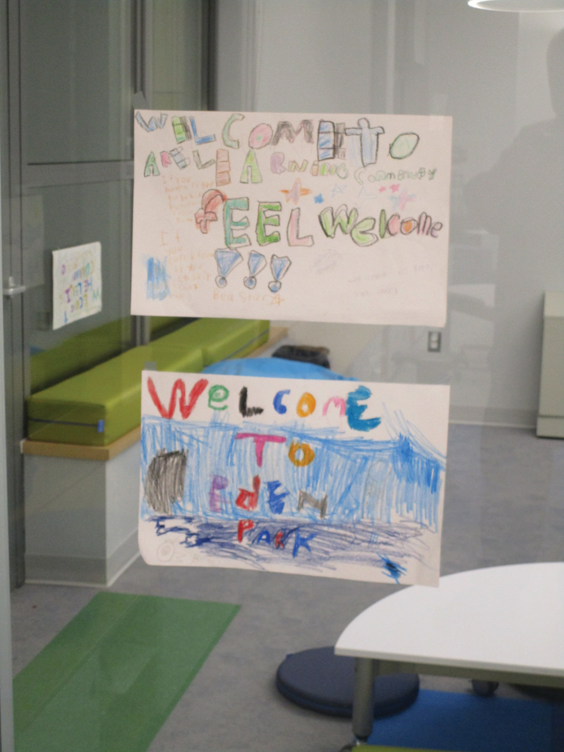 SAYING HELLO: Students created messages such as these to welcome visitors during last week's open house.